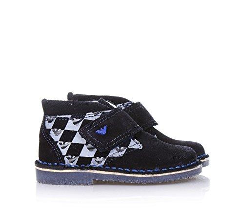 ARMANI - Blauer Schuh aus Wildleder, mit Klettverschluss, dekorative Drücke mit Logo, sichtbare Nähte und Gummisohle, Jungen