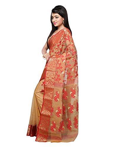 Bengal Handloom Saree Women's Cotton Silk Jamdani Free Size Beige