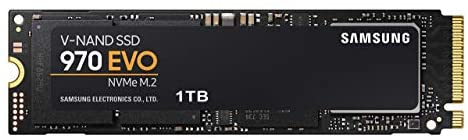 Samsung (MZ-V7E1T0BW) 970 EVO SSD 1TB - M.2 NVMe Interface Internal Solid State Drive with V-NAND Technology, Black/Red