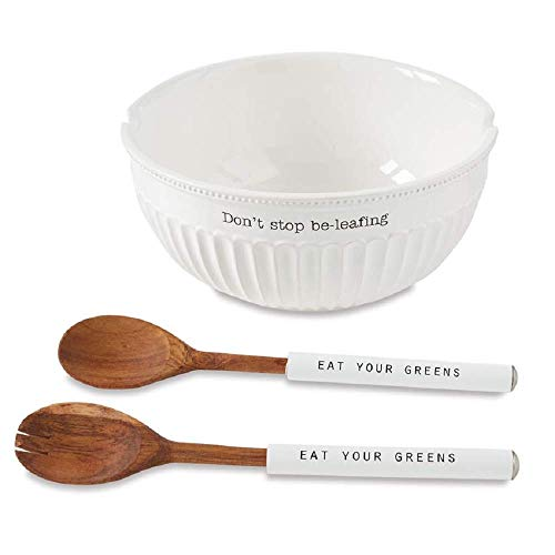 Mud Pie Don't Stop Be-Leafing Salad Bowl Set