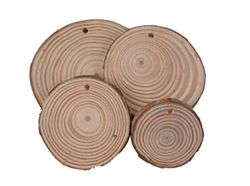 TSJ 20 CT Round Blank Natural Pine Wood Slice with Bark Unfinished Rustic Wedding Ornaments