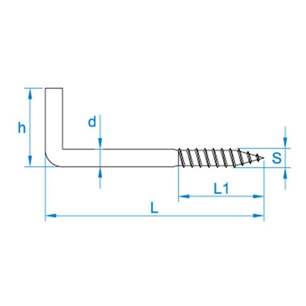 100 X Gerade Schraubhaken 2.50x25x11 Eisen glanzverzinkt