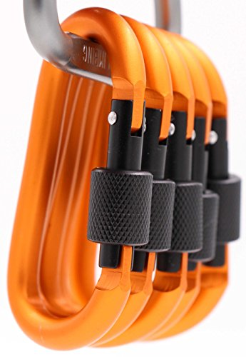 - LeBeila Aluminum Carabiner Heavy Duty Climbing Hooks D Shape Buckle Pack Spring Snap Keychain Clip with Screwgate Locking-Outdoor Camping D-Ring Carabiners Hook (Orange-5PCS)