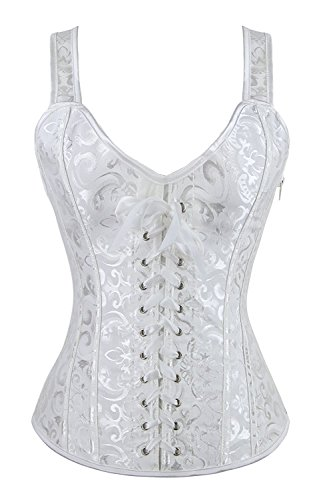Blidece Women's Sexy Boned Overbust Lace up Corsets and Strap Bustiers Top - Corset Satin White