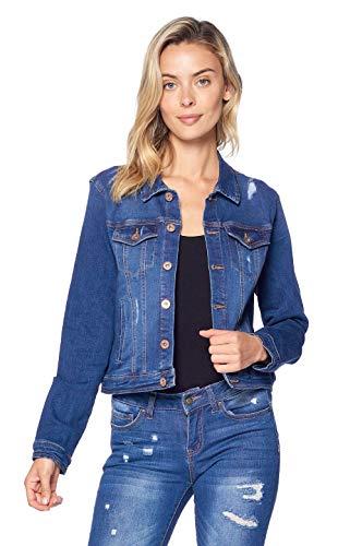 Blue Age Women's Distressed Jean Jacket Medium Denim - Chic Outerwear Fashion Girls