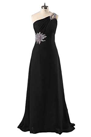 Chugu One Shoulder Long Evening Party Dress Prom Dresses Women A Line Chiffon C15 Black 2