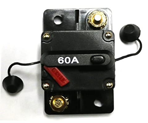 Caliber CB60 60amp Marine Grade Circuit Breaker 60a w/ Manual Reset and Free Cover, Compatible with All 12, 24 and 36 Volt Systems for Electric Trolling - 36 Volt Motor