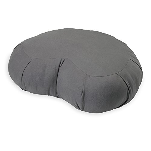 Gaiam Sol Crescent Meditation Cushion Zafu Style Yoga Pillow, Grey