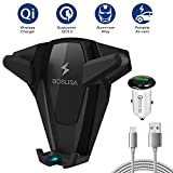 Wireless Car Charger, BOSLISA X-Man Wireless Charger Car Mount, Air Vent Phone Holder, QC3.0 Fast Charging Compatible for iPhoneX/8/8 Plus/Samsung Galaxy S9/8/7/Note 8 and More Qi Phones (Black)