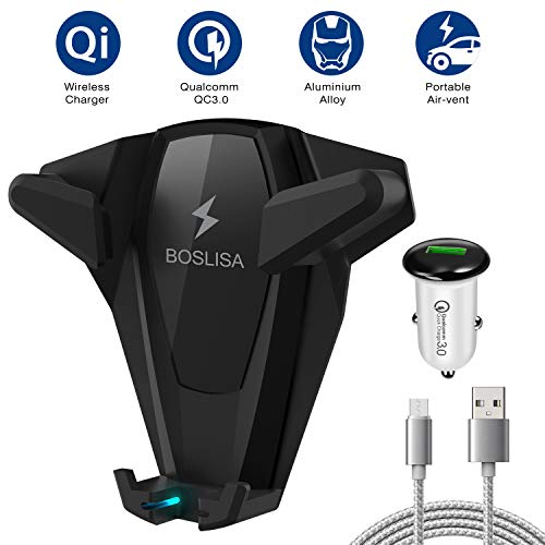 Wireless Car Charger, BOSLISA X-Man Wireless Charger Car Mount, Air Vent Phone Holder, QC3.0 Fast Charging Compatible for iPhoneX/8/8 Plus/Samsung Galaxy S9/8/7/Note 8 and More Qi Phones (Black) by BOSLISA
