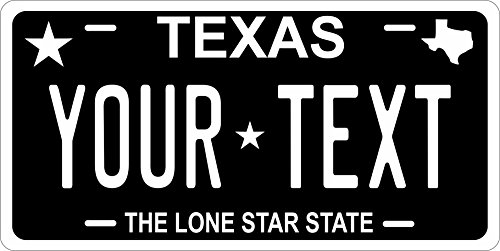 (PhotoZoneGa 50 State Personalized Custom Novelty Tag Vehicle Auto Car Bike Bicycle Motorcycle Moped Key Chain License Plate (Texas Black))