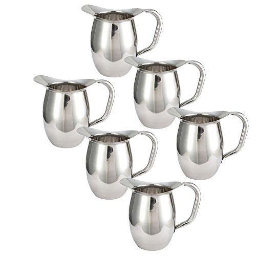 (Tiger Chef Deluxe Bell Pitcher - 3 Qt. Stainless Steel Bell Pitcher, Catering Pitchers, 96 oz. (6))