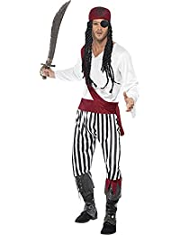 Smiffy's Men's Pirate Man Costume with Shirt Trousers Headpiece and Belt
