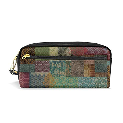 Bannockburn Oil - Bohemian Cheater Quilt Patchwork (in Rust And Teal)_818 Cosmetic Bags Portable Travel Makeup Organizer Multifunction Case Bags for Women