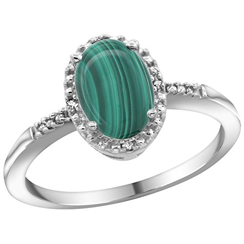 Sterling Silver Diamond Natural Malachite Ring Oval 8x6mm, 3 8 inch wide, sizes 5-10