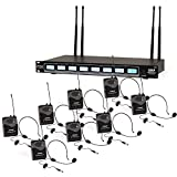 8-Channel UHF Wireless Microphone System - Mountable Base Rack, 8 Headsets, 8 Belt Packs, 8 Lavalier/Lapel MIC with Independent Volume Controls AF & RF Signal Indicators - Pyle PDWM8374