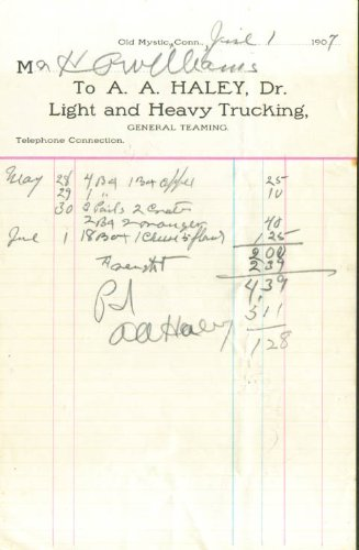 A A Haley Trucking Old Mystic CT invoice 1907