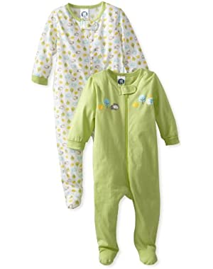 Gerber Unisex Baby 2 Pack Sleep N Play Zip Front (Baby) - Green