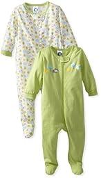 Gerber Unisex Baby 2 Pack Zip Front Sleep \'N Play, Animals Green, 3-6 Months