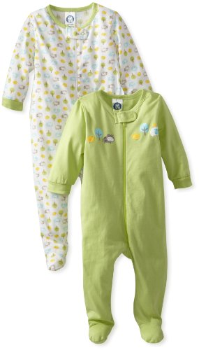 Infant Footed Sleeper (Gerber Unisex Baby 2 Pack Zip Front Sleep 'N Play, Animals Green, 3-6 Months)