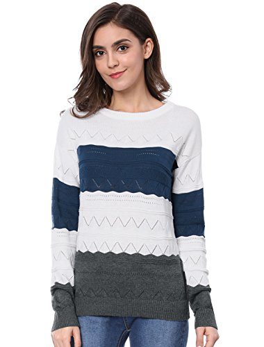 Allegra K Women's Drop Shoulder Open Stitch Color Block Sweater M Blue (Open Neck Sweater)