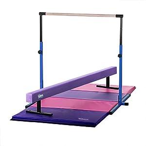 Nimble Sports Little Gym Blue Adjustable Horizontal Bar, Purple Suede Balance Beam, Pink and Purple Gymnastics Mat