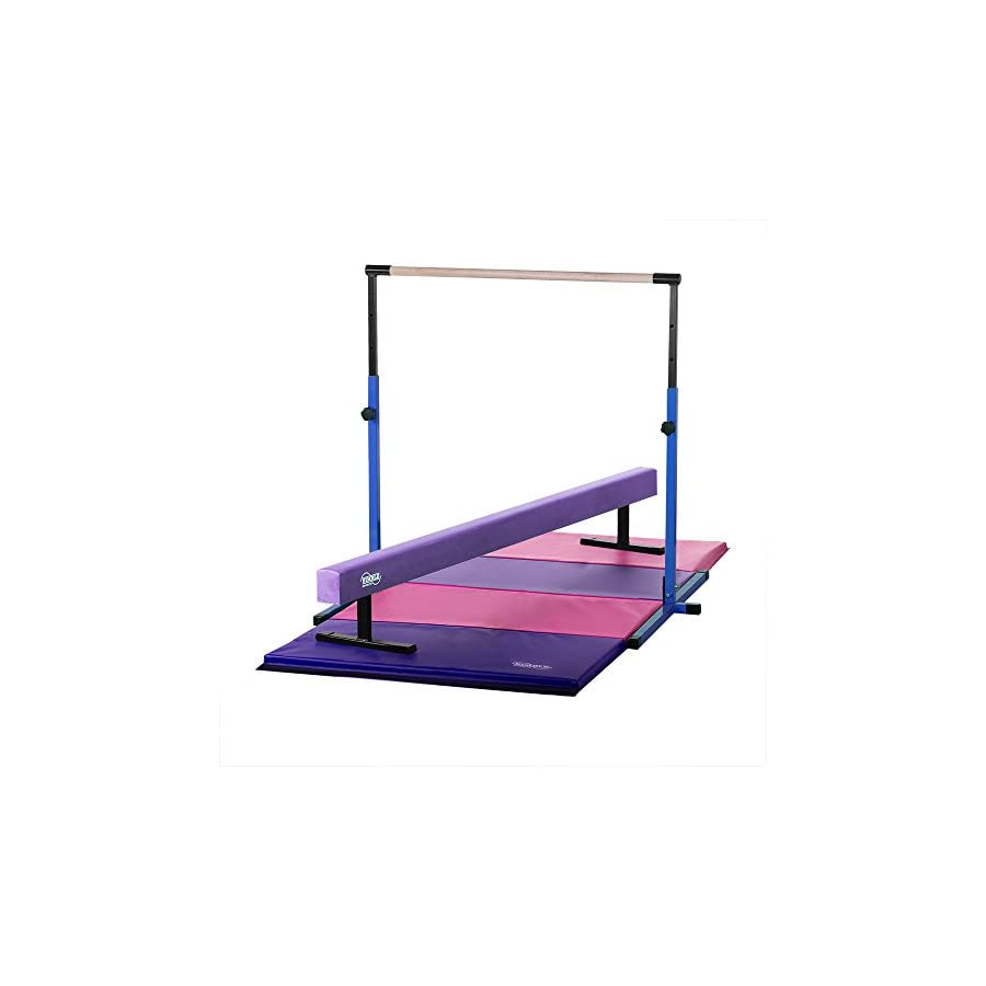 Nimble Sports Little Gym Adjustable Blue Horizontal Bar, 8ft Long 12in High Purple Balance Beam, 4ftX8ft Pink/Purple Gymnastics Mat
