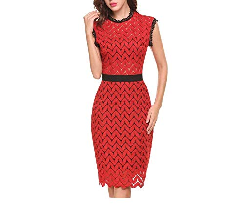 Vintage Styles O-Neck Zigzag Hollow Out Lace Backless Cocktail Dress with Ling,Red,XXL