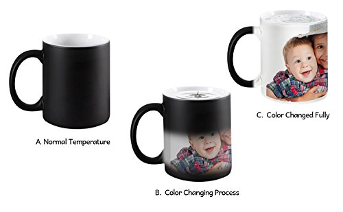Magic Custom (Magic Photo Ceramic Coffee Mugs, Personalized Custom Heat Sensitive Color Change Morning Coffee Mug Milk Water Tea Cup Add YOUR PHOTO&TEXT,Perfect XMAS Birthday Keepsake gifts for Family Lover Friends)