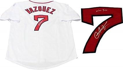 Christian Vazquez quot Mini Yadi quot  Autographed Boston Red Sox White  Jersey - Autographed ... a22859479b1
