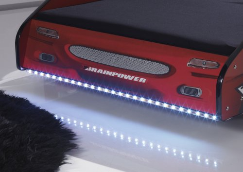 Pol.Power Autobett METEOR in Rot Hochglanz - Kinderbett inkl. LED Beleuchtung, 90 x 200