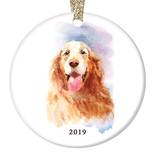 (Golden Retriever 2019 Christmas Ornament Beautiful Watercolor Ceramic Keepsake Golden Dog Breed Great Family Pet Puppy Shelter Adopted Rescue 3