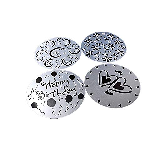 Lautechco 4Pcs/Set DIY Birthday Cake Spray Mold Decorating Heart Flower Screen Printing Film Coffee Tiramisu Decorating Bakery Tool ()