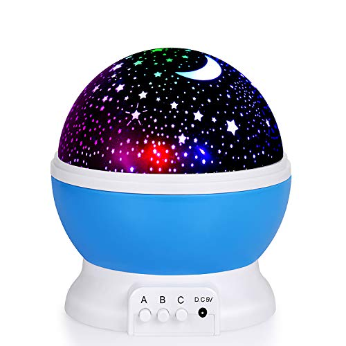 Kids Night Light, Moon Star Night Light Rotating Star Projector, Baby Night Light, Night Lighting Lamp 4 LED 8 Modes with USB Cable, Best for Bedroom Nursery Kids Baby Children Birthday Gift