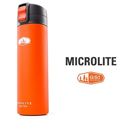 GSI Outdoors MicroLite 720 Flip, Vacuum Bottle, Orange, Superior Backcountry Cookware Since 1985,24oz