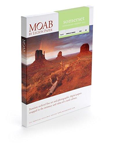 Legion Velvet Paper - Legion Moab Somerset Enhanced Velvet Paper 225, 11 X 17 inches, 25 Sheets (I98-SEV2251)