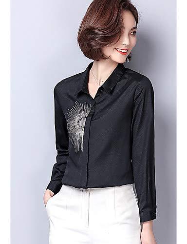 Black Donna Yfltz Basic Ricami Camicia Geometrici Da qqYagv6