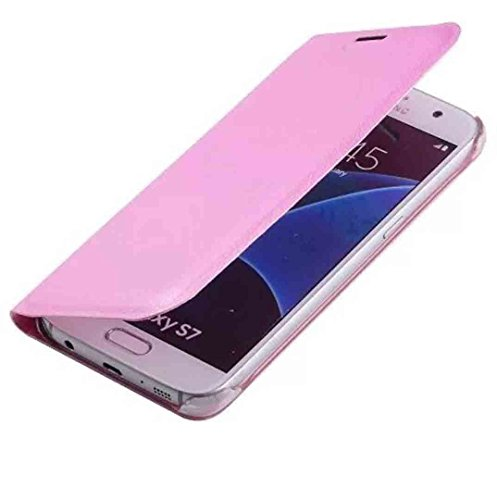 Galaxy 2016 J1 Flip Case, OMORRO Newest Posh Fashion Clamshell Phone Case [Business Name ID Card Slot Holder] Anti-Scratch Ultralight Thin Protective Cover for Samsung Galaxy J120 Pink