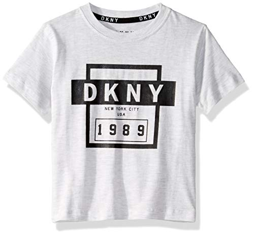 DKNY Boys' Toddler Short Sleeve Fashion T-Shirt, Classic Front White Heather, 3T