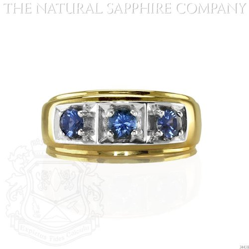 Gent's Three-Stone Yogo Sapphire Ring Set in a 14K Yellow Gold and White Gold Mounting. (J4458) 14k Yellow Gold Mens Mounting