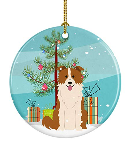 Caroline's Treasures BB4244CO1 Merry Christmas Tree Border Collie Red White Ceramic Ornament, 3 in, -