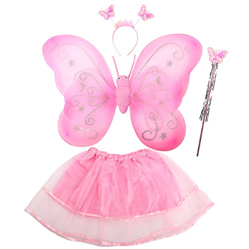 [Acediscoball Girls' Butterfly Wings Fairy Dress up Costume Tutu Dress Headband Pink] (Fairy Costumes Girl)