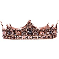 SWEETV Baroque Queen Crown - Rhinestone European Medieval Wedding Crown, Vintage Round Pageant Tiara for Women