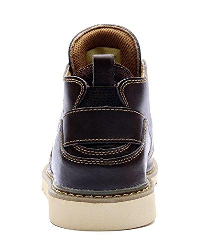 Insun Men's Genuine Leather Boot Shoes Coffee Frot4EN3MZ