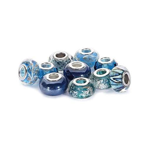 BRCbeads Top Quality 10Pcs Mix Silver Plate BLUE ZIRCON THEME Murano Lampwork European Glass Crystal Charms Beads Spacers Fit Troll Chamilia Carlo Biagi Zable Snake Chain Charm Bracelets.