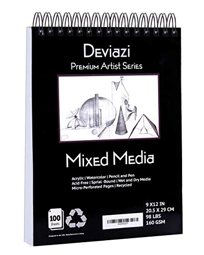 Deviazi Mixed Media Sketchbook (100-Sheets) Acrylic Art Pad, Ink Sketch Book, Watercolor | Drawing Pad, Acid-Free Paper for Drawing Paper, Painting, Sketching | Spiral Bound Sketchbook | Coloring Book ()