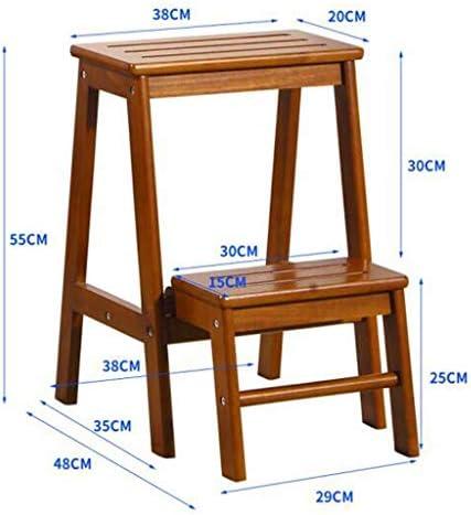 Step Ladders Solid Wood Foot Stools 2 Tread Ladder Chair Multifunction Flower Rack/Storage Shelf Indoor Ascending Stepladder QIQIDEDIAN