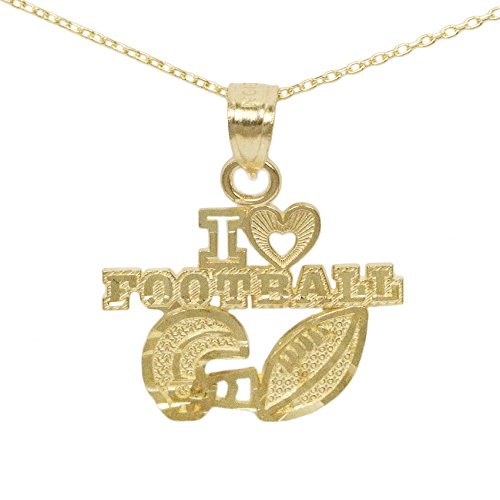Ice on Fire Jewelry 10k Yellow Gold I Love Football Pendant (No (Solid Gold Sport Charm)