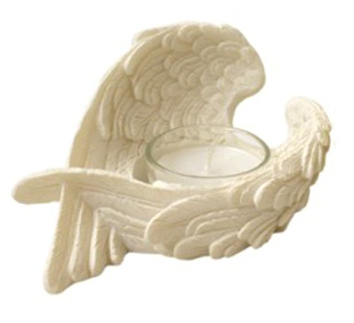 Jones Home and Gift Angel Wings Candle Holder Resin Ornament With Glass Votive Candle (Left A)