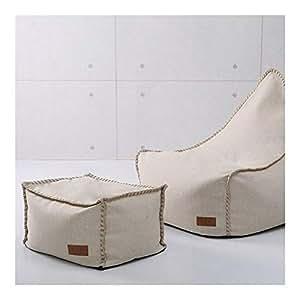 Amazon.com: Classic Bean Bag Chair with Footstool Burlap ...